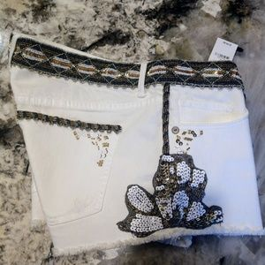 Express sequined white denim shorts